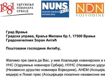 Medijska udruženja nude pomoć gradonačelniku Vranja