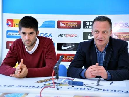 Sportski direktor Darko Gašić i novi trener Mladen Dodić FOTO: D. Mirčev/FK Radnik