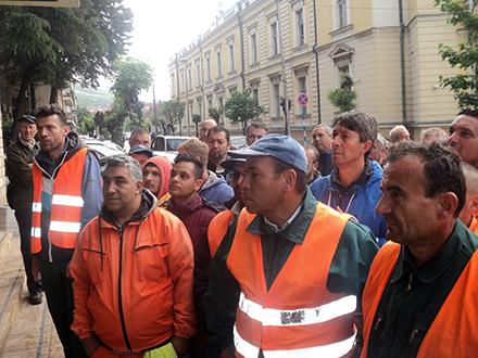Rdanici Komrada na protestu. Foto: S.Tasić/OK Radio