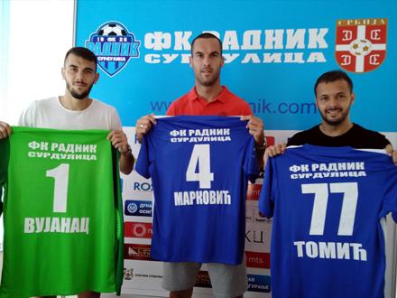 Tomić, Marković i Vujanac FOTO: FK Radnik