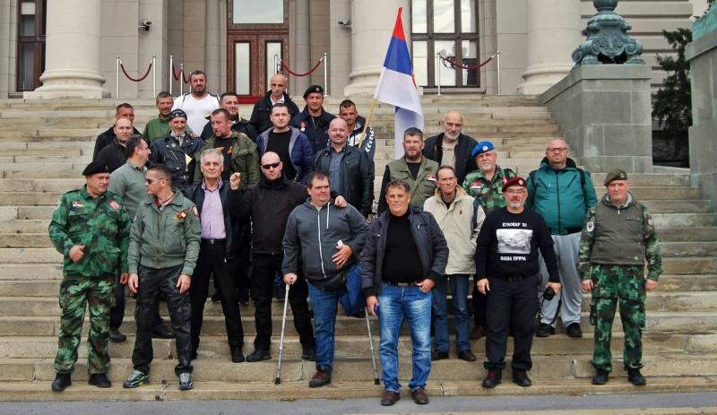 Veterani ispred Skupštine Srbije. Foto: Privatna arhiva
