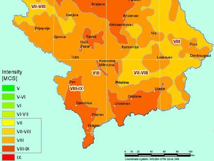 Tamnija boja na mapi - veća opasnost FOTO: Republički seizmološki zavod/printscreen