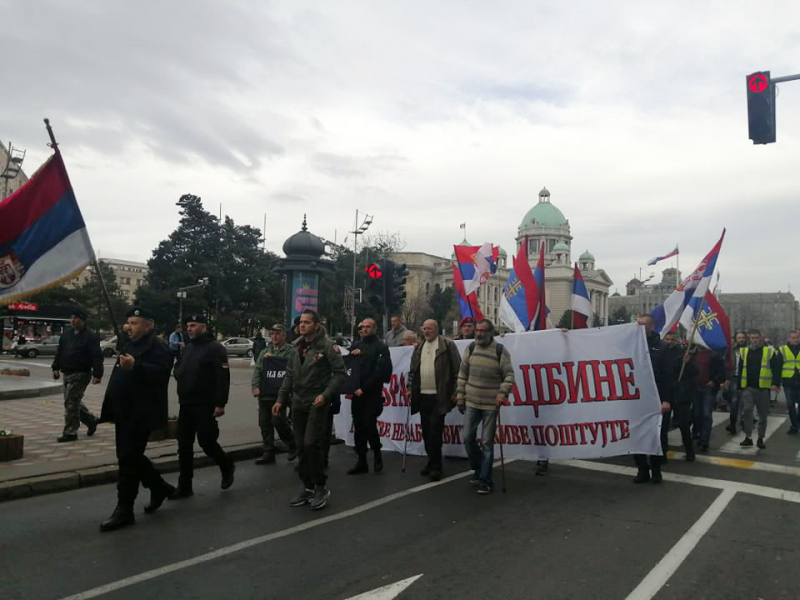 Veterani na protestu u Beogradu. Foto: S.Tasić/OK Radio