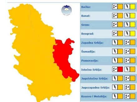 Nevreme u većem delu Srbije FOTO: RHMZ/Screenshot