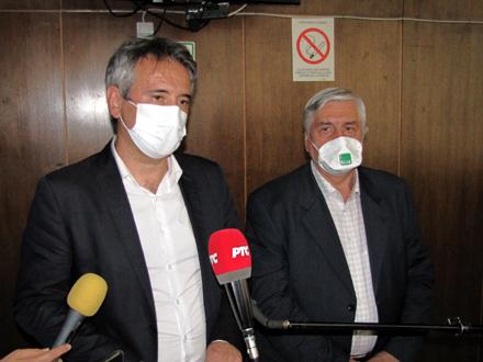 Gradonačelnik Milenković i Branislav Tiodorović nakon sastanka FOTO: D. Ristić/OK Radio