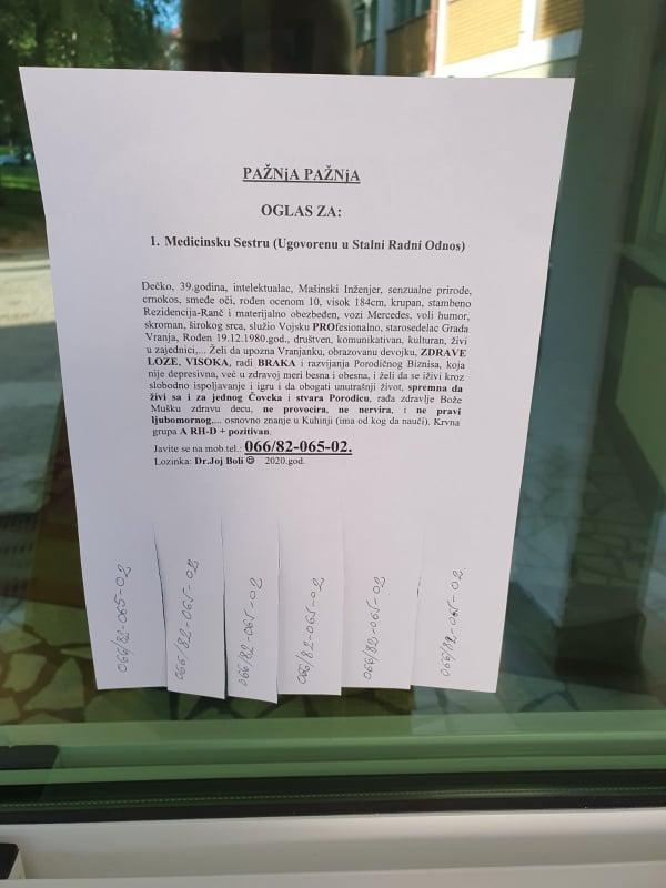 Oglas u ZC Vranje. Foto: S.Tasić/OK Radio