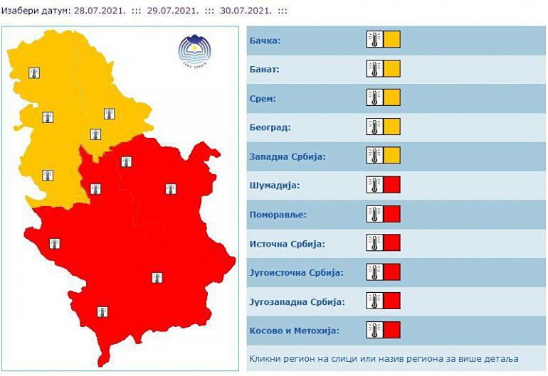 Pored temperature, visok je i UV indeks FOTO: RHMZ/Screenshot