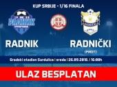 BESPLATAN ulaz za meč Kupa Srbije