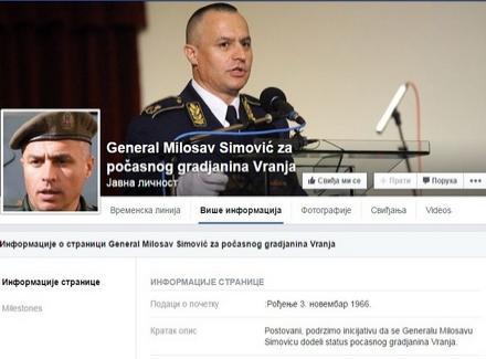 FB: Simovića za počasnog Vranjanca